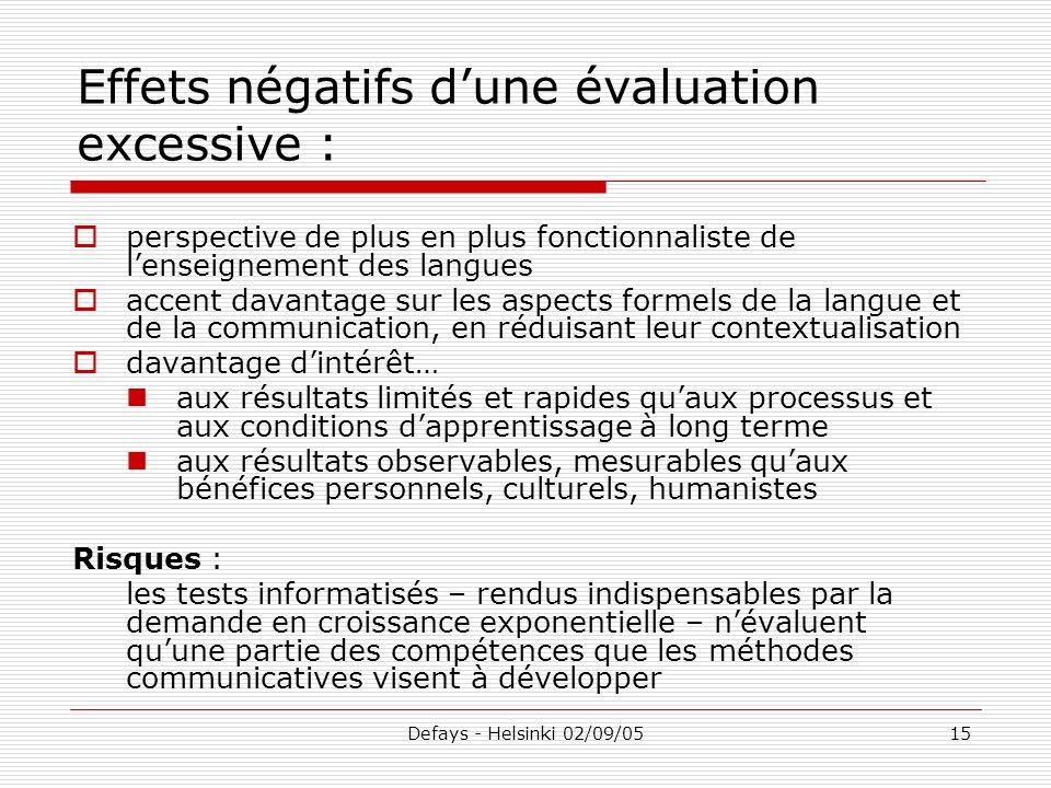 Defays - Helsinki 02/09/0515 Effets négatifs dune évaluation excessive : perspective de plus en plus fonctionnaliste de lenseignement des langues acce