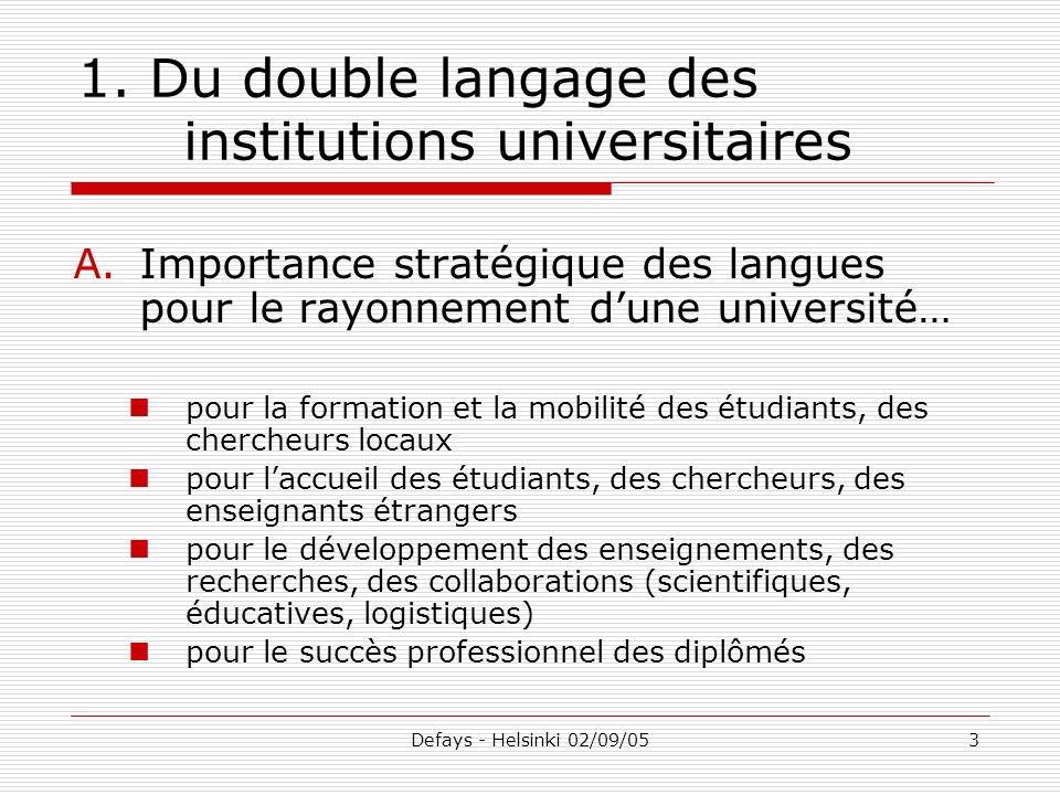 Defays - Helsinki 02/09/053 1. Du double langage des institutions universitaires A.Importance stratégique des langues pour le rayonnement dune univers