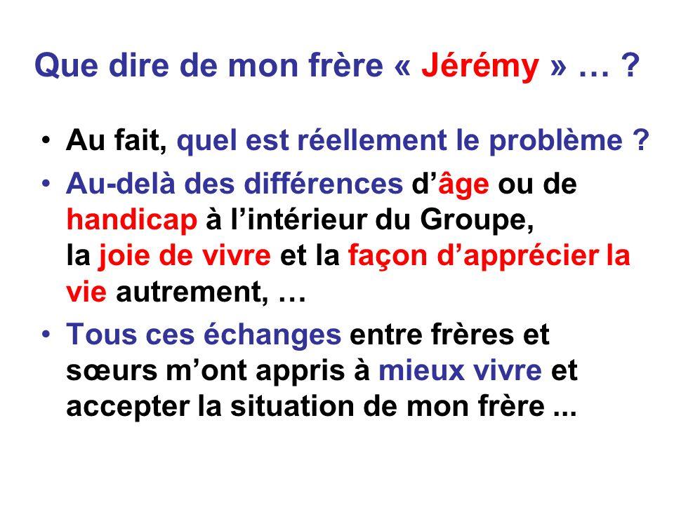 Que dire de mon frère « Jérémy » … .Au fait, quel est réellement le problème .