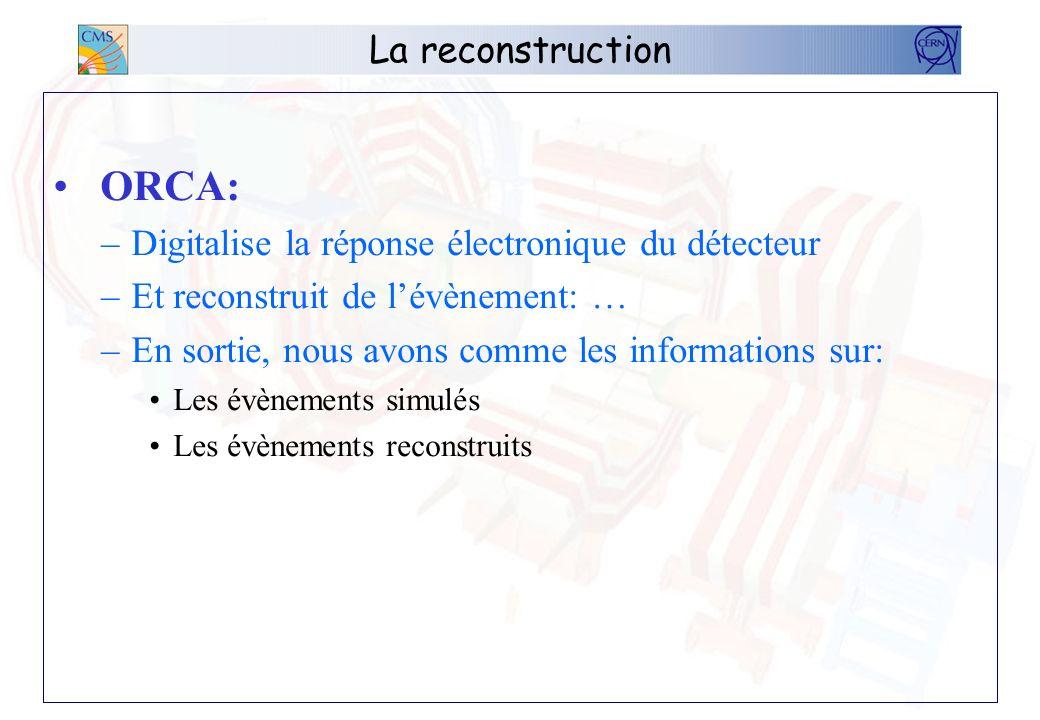 La reconstruction ORCA: –Digitalise la réponse électronique du détecteur –Et reconstruit de lévènement: … –En sortie, nous avons comme les information