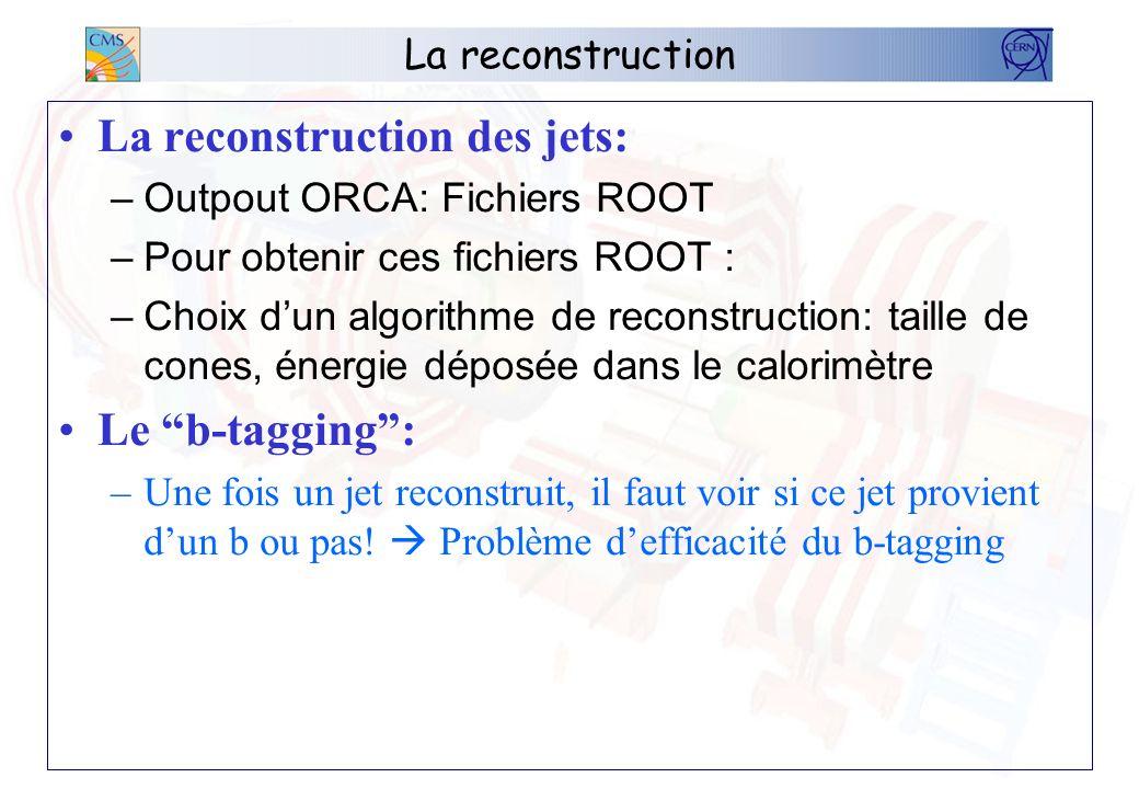 La reconstruction La reconstruction des jets: –Outpout ORCA: Fichiers ROOT –Pour obtenir ces fichiers ROOT : –Choix dun algorithme de reconstruction: