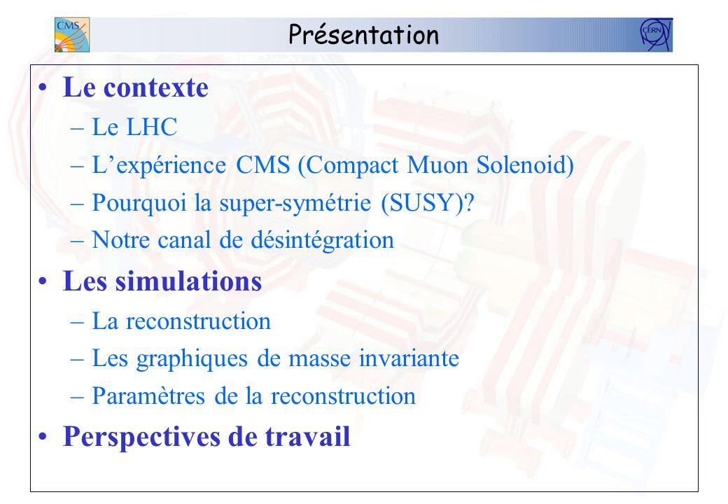 Présentation Le contexte –Le LHC –Lexpérience CMS (Compact Muon Solenoid) –Pourquoi la super-symétrie (SUSY)? –Notre canal de désintégration Les simul