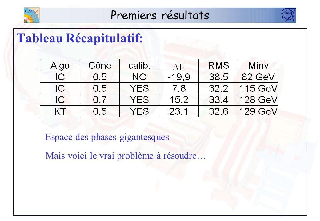 Premiers résultats Tableau Récapitulatif: Espace des phases gigantesques Mais voici le vrai problème à résoudre…