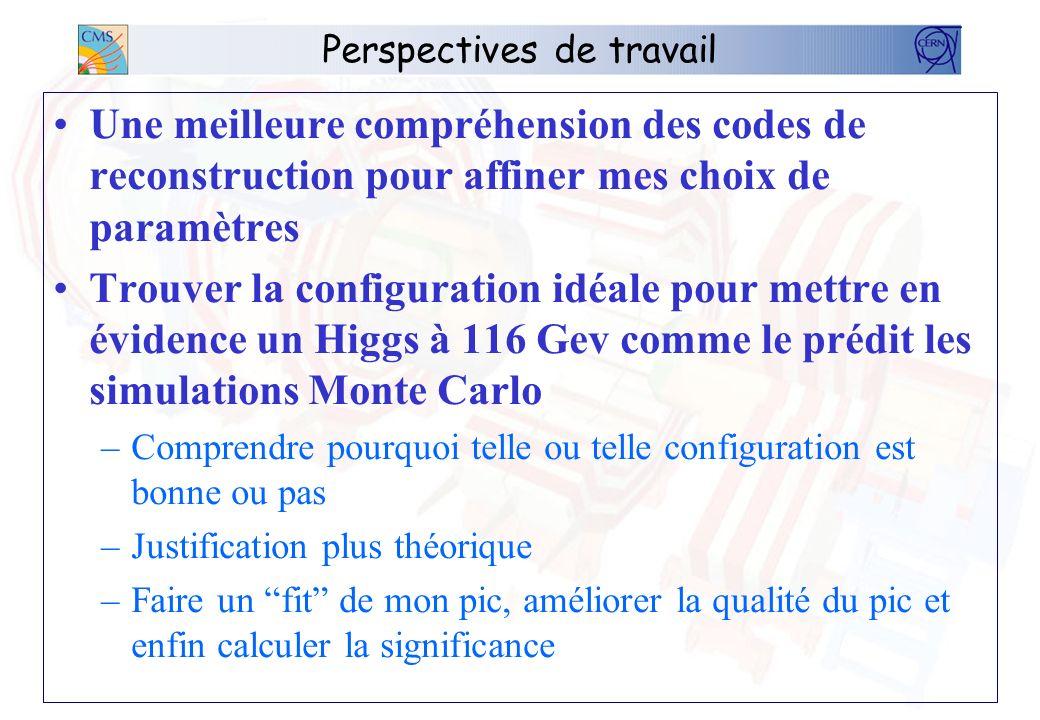 Perspectives de travail Une meilleure compréhension des codes de reconstruction pour affiner mes choix de paramètres Trouver la configuration idéale p