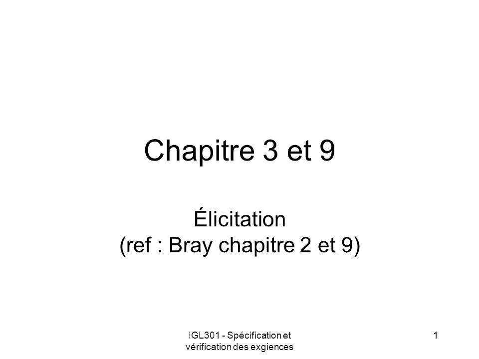 IGL301 - Spécification et vérification des exgiences 1 Chapitre 3 et 9 Élicitation (ref : Bray chapitre 2 et 9)
