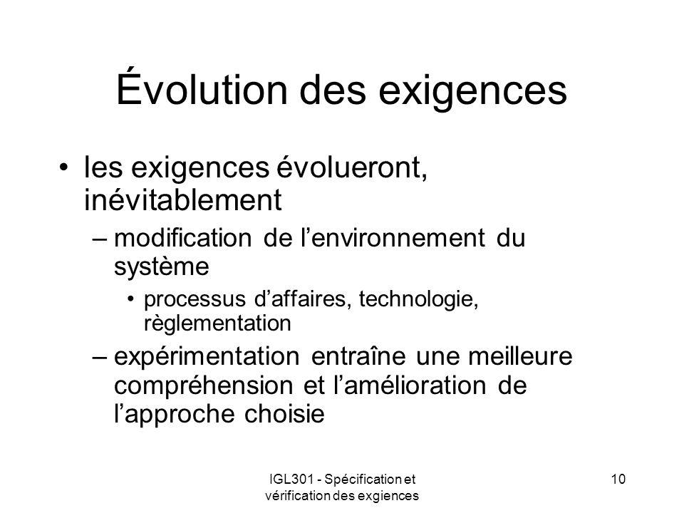 IGL301 - Spécification et vérification des exgiences 10 Évolution des exigences les exigences évolueront, inévitablement –modification de lenvironneme
