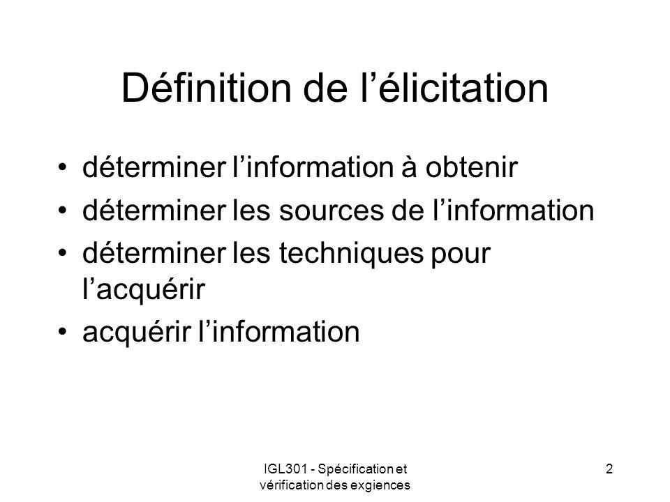IGL301 - Spécification et vérification des exgiences 2 Définition de lélicitation déterminer linformation à obtenir déterminer les sources de linforma