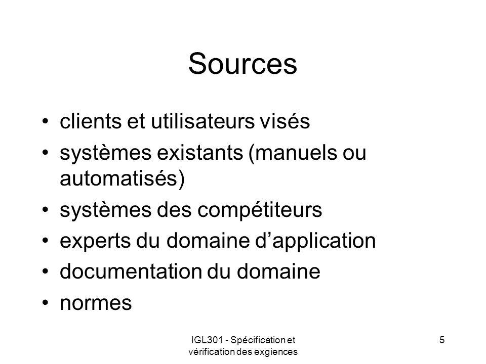 IGL301 - Spécification et vérification des exgiences 5 Sources clients et utilisateurs visés systèmes existants (manuels ou automatisés) systèmes des