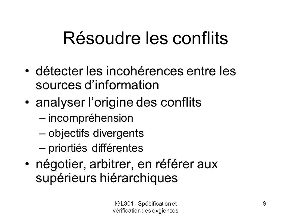 IGL301 - Spécification et vérification des exgiences 9 Résoudre les conflits détecter les incohérences entre les sources dinformation analyser lorigin