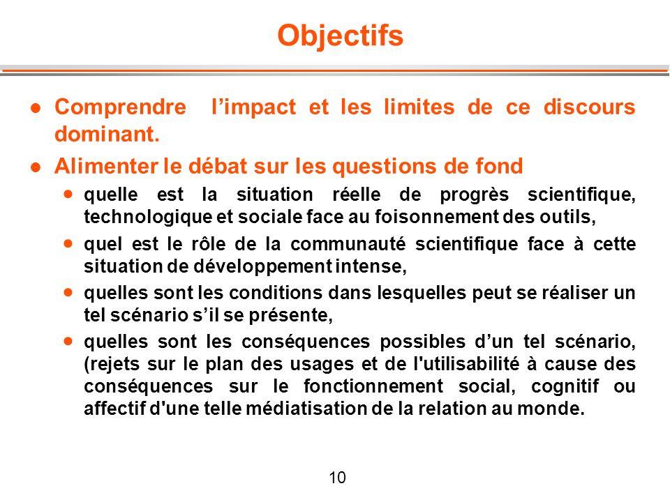 10 Objectifs l Comprendre limpact et les limites de ce discours dominant. l Alimenter le débat sur les questions de fond quelle est la situation réell