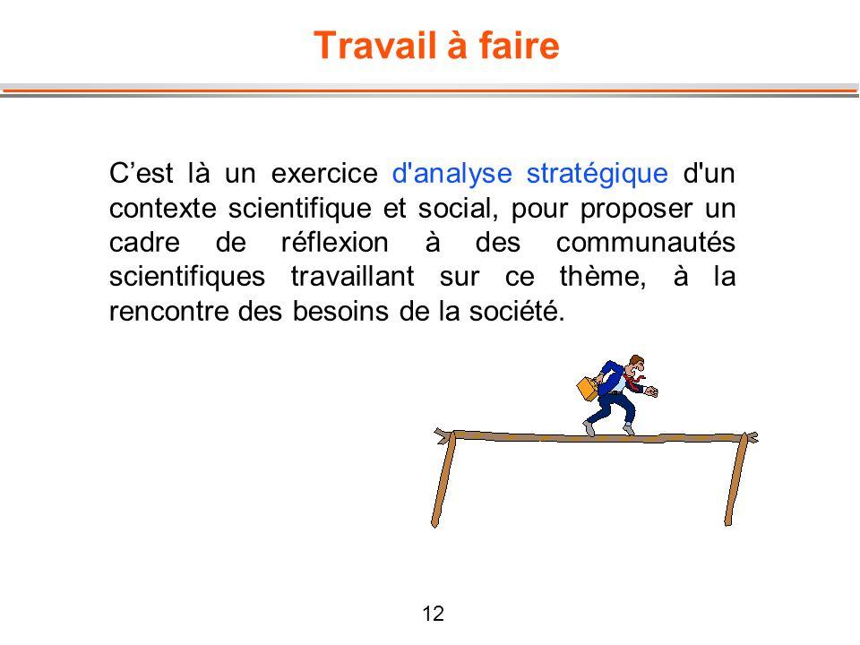 12 Travail à faire Cest là un exercice d'analyse stratégique d'un contexte scientifique et social, pour proposer un cadre de réflexion à des communaut