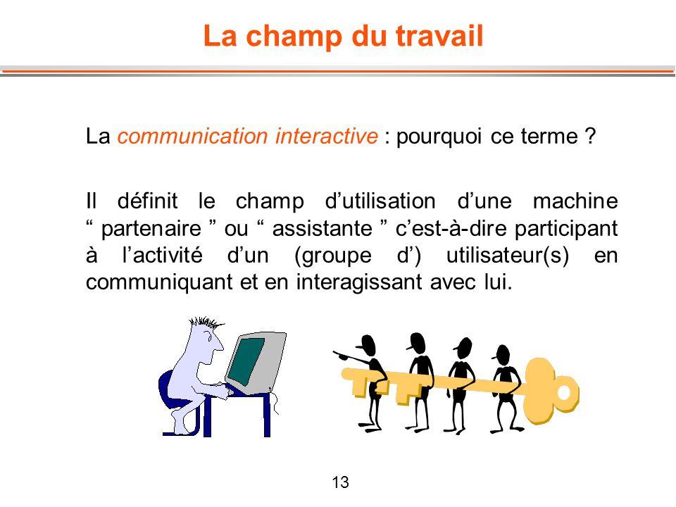 13 La champ du travail La communication interactive : pourquoi ce terme ? Il définit le champ dutilisation dune machine partenaire ou assistante cest-