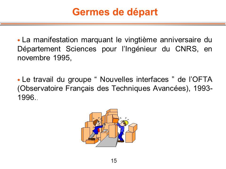 15 Germes de départ La manifestation marquant le vingtième anniversaire du Département Sciences pour lIngénieur du CNRS, en novembre 1995, Le travail