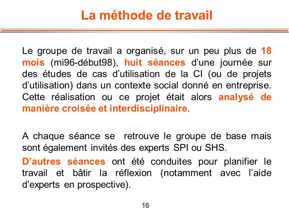 16 La méthode de travail Le groupe de travail a organisé, sur un peu plus de 18 mois (mi96-début98), huit séances dune journée sur des études de cas d