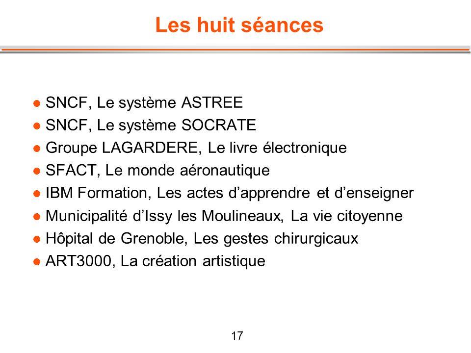 17 Les huit séances l SNCF, Le système ASTREE l SNCF, Le système SOCRATE l Groupe LAGARDERE, Le livre électronique l SFACT, Le monde aéronautique l IB