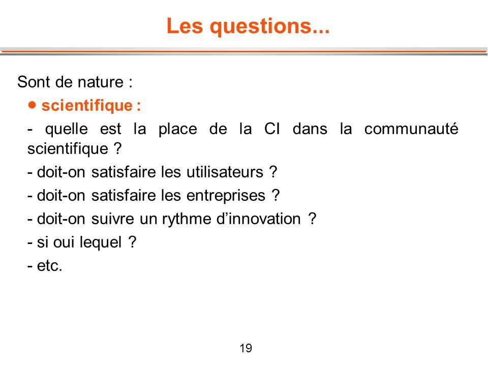 19 Les questions... Sont de nature : scientifique : - quelle est la place de la CI dans la communauté scientifique ? - doit-on satisfaire les utilisat