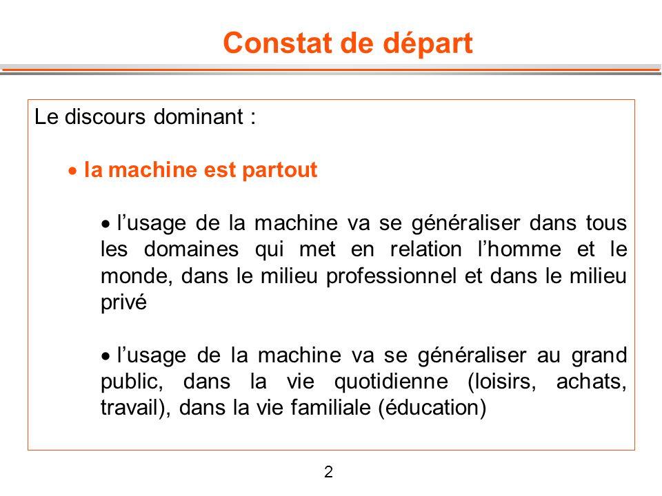 2 Constat de départ Le discours dominant : la machine est partout lusage de la machine va se généraliser dans tous les domaines qui met en relation lh