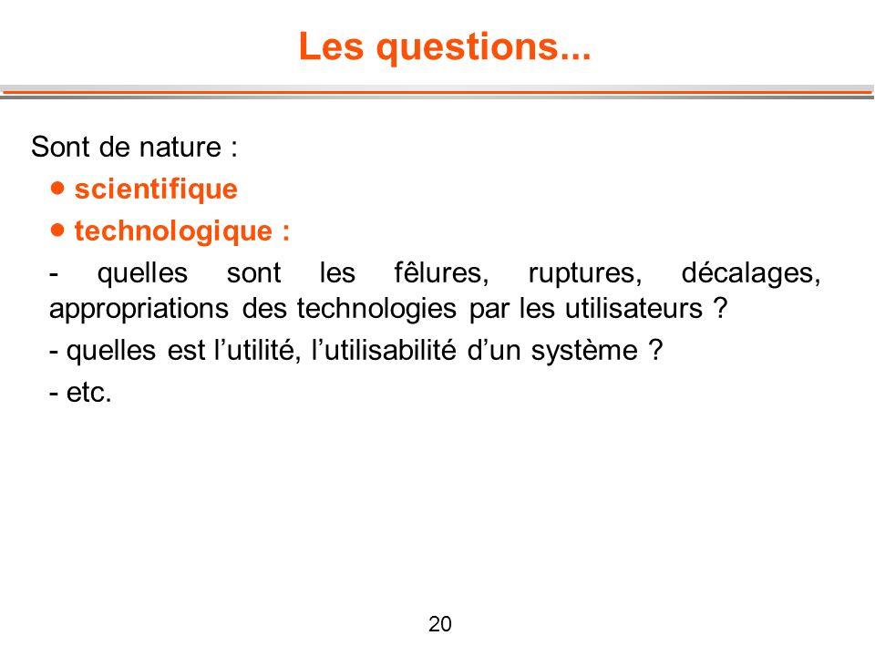 20 Les questions... Sont de nature : scientifique technologique : - quelles sont les fêlures, ruptures, décalages, appropriations des technologies par