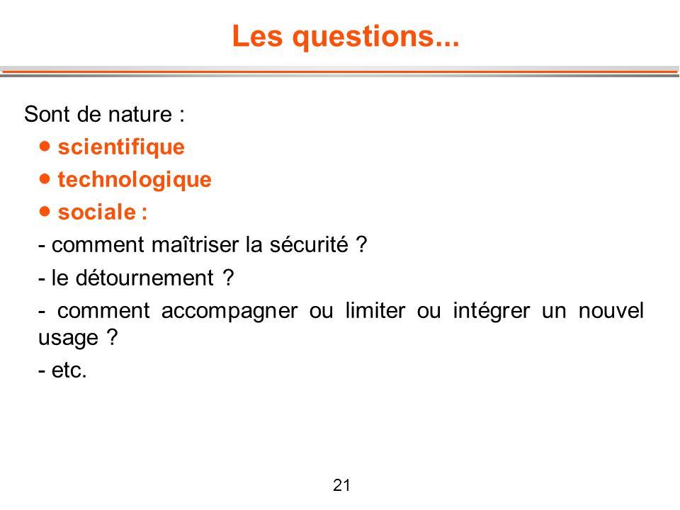 21 Les questions... Sont de nature : scientifique technologique sociale : - comment maîtriser la sécurité ? - le détournement ? - comment accompagner