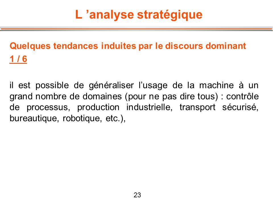 23 L analyse stratégique Quelques tendances induites par le discours dominant 1 / 6 il est possible de généraliser lusage de la machine à un grand nom