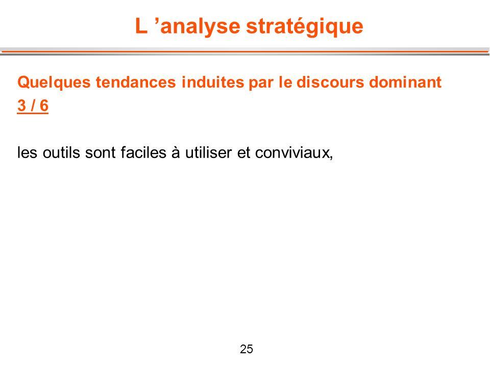 25 L analyse stratégique Quelques tendances induites par le discours dominant 3 / 6 les outils sont faciles à utiliser et conviviaux,