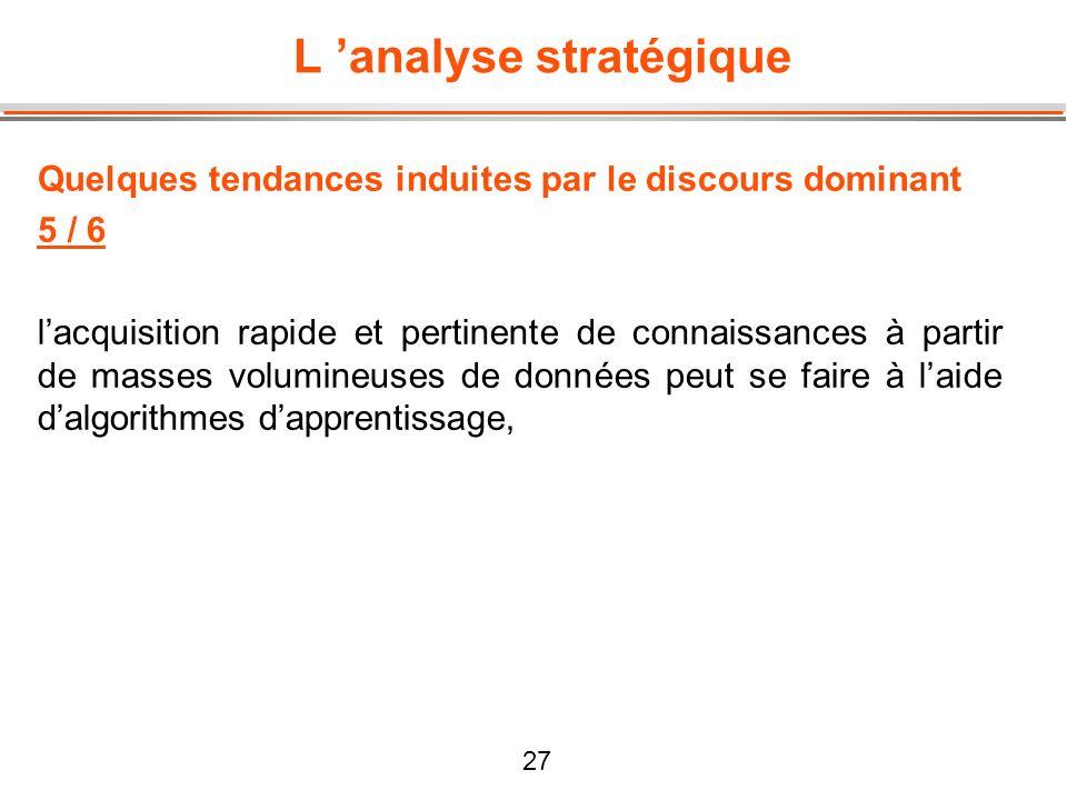 27 L analyse stratégique Quelques tendances induites par le discours dominant 5 / 6 lacquisition rapide et pertinente de connaissances à partir de mas