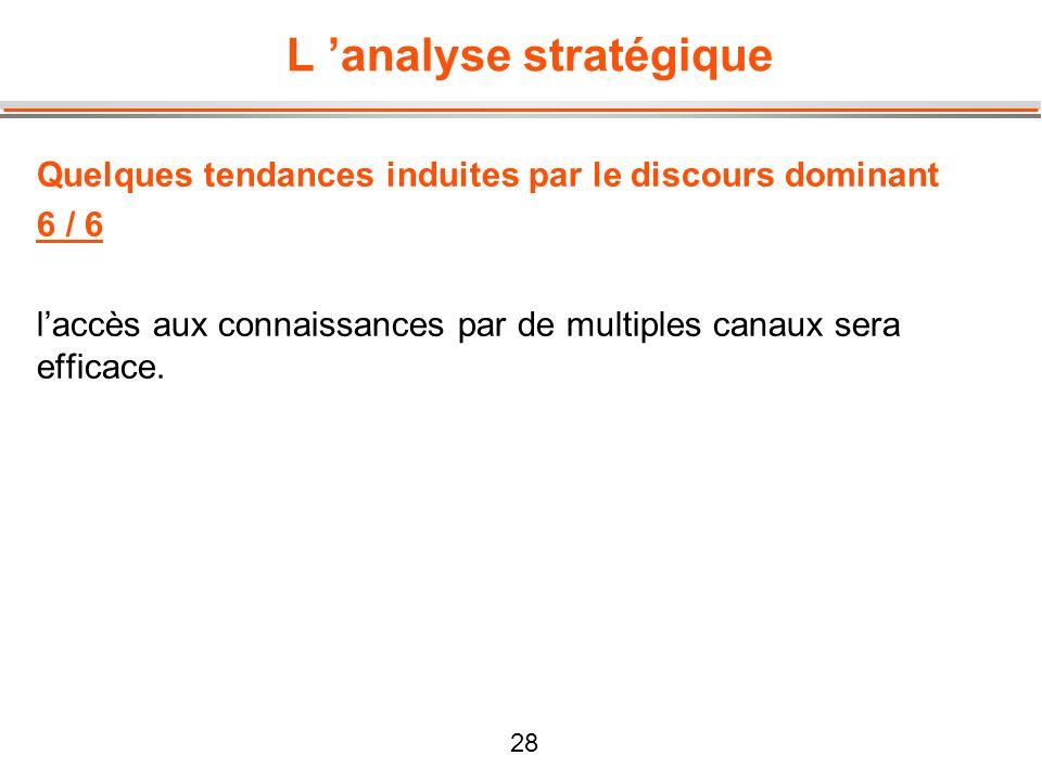 28 L analyse stratégique Quelques tendances induites par le discours dominant 6 / 6 laccès aux connaissances par de multiples canaux sera efficace.