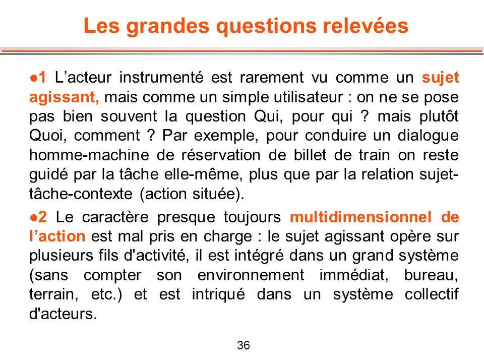 36 Les grandes questions relevées l 1 Lacteur instrumenté est rarement vu comme un sujet agissant, mais comme un simple utilisateur : on ne se pose pa