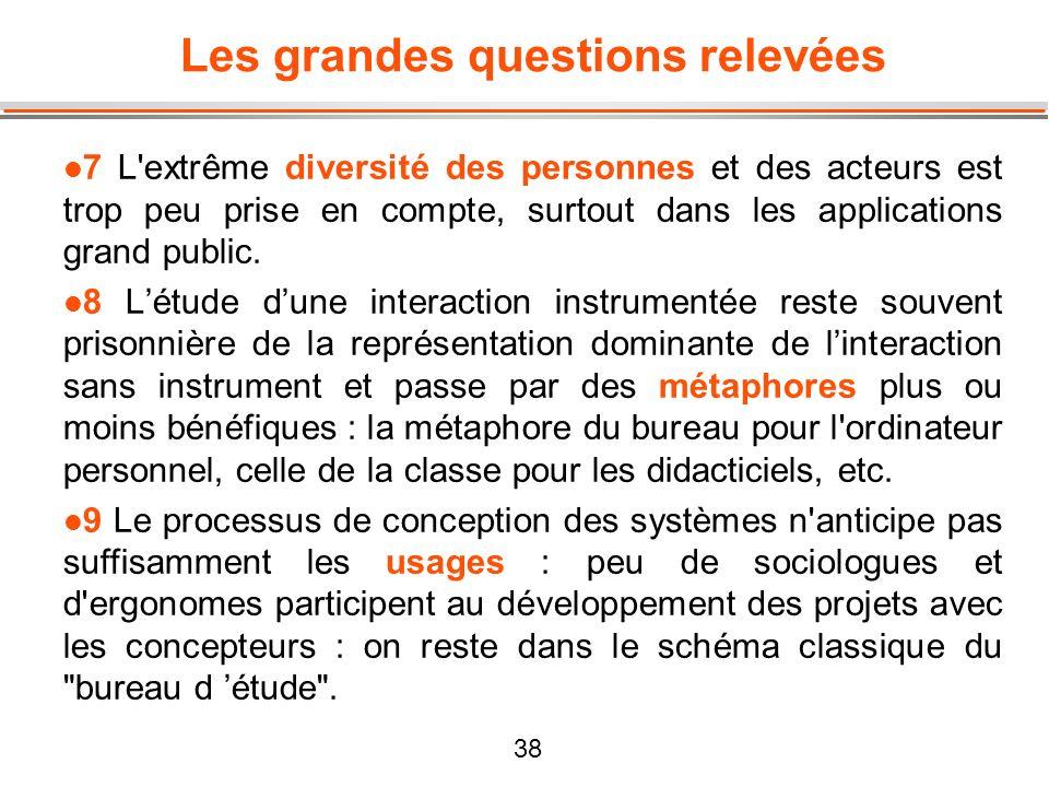 38 Les grandes questions relevées l 7 L'extrême diversité des personnes et des acteurs est trop peu prise en compte, surtout dans les applications gra