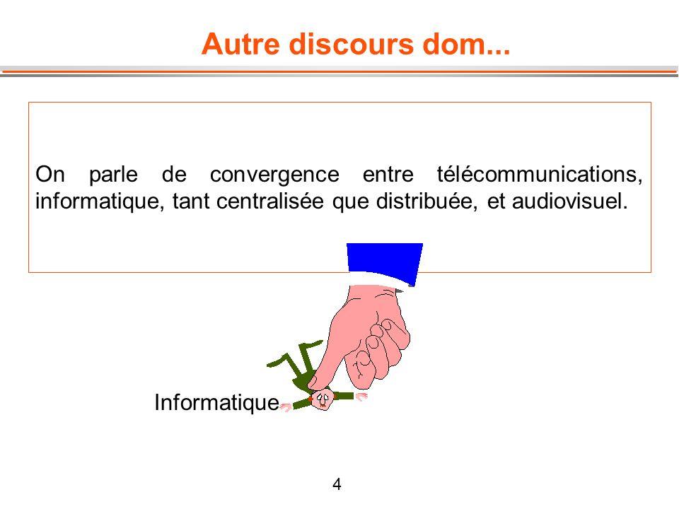 4 Autre discours dom... On parle de convergence entre télécommunications, informatique, tant centralisée que distribuée, et audiovisuel. Informatique
