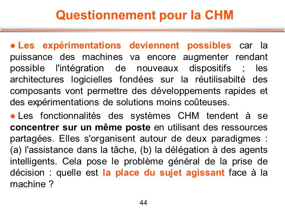 44 Questionnement pour la CHM l Les expérimentations deviennent possibles car la puissance des machines va encore augmenter rendant possible l'intégra