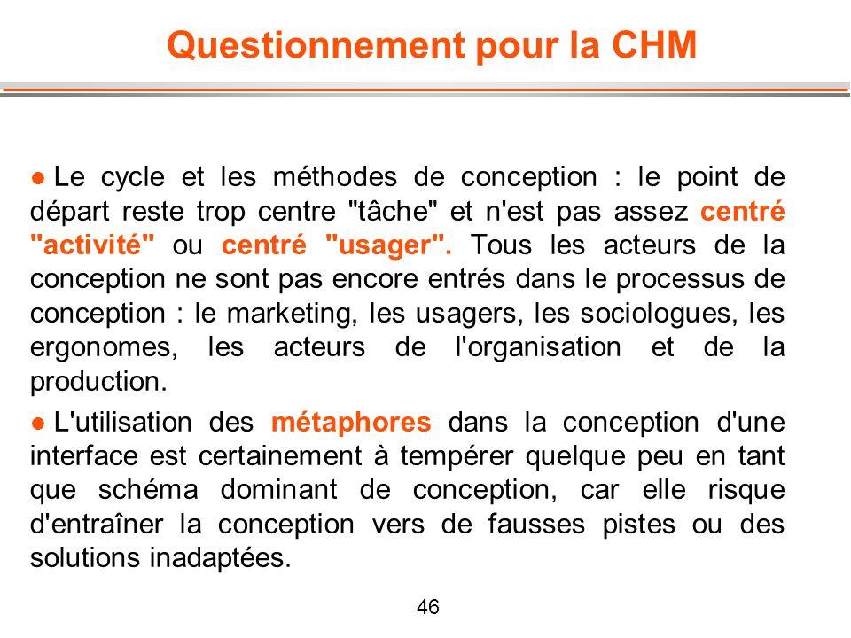 46 Questionnement pour la CHM l Le cycle et les méthodes de conception : le point de départ reste trop centre