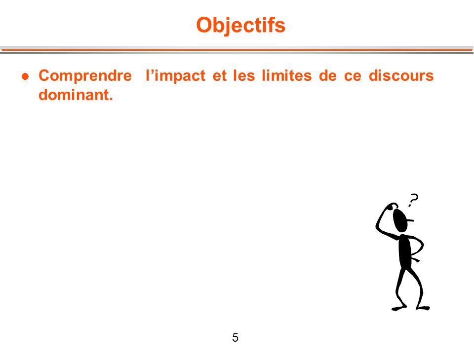 5 Objectifs l Comprendre limpact et les limites de ce discours dominant.
