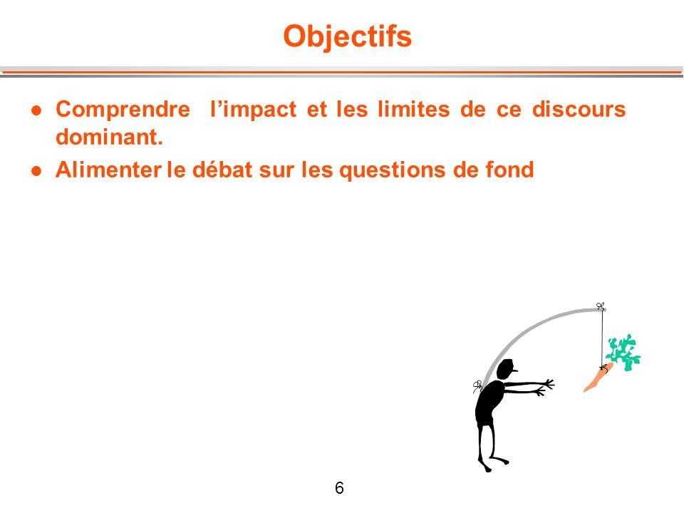 6 Objectifs l Comprendre limpact et les limites de ce discours dominant. l Alimenter le débat sur les questions de fond