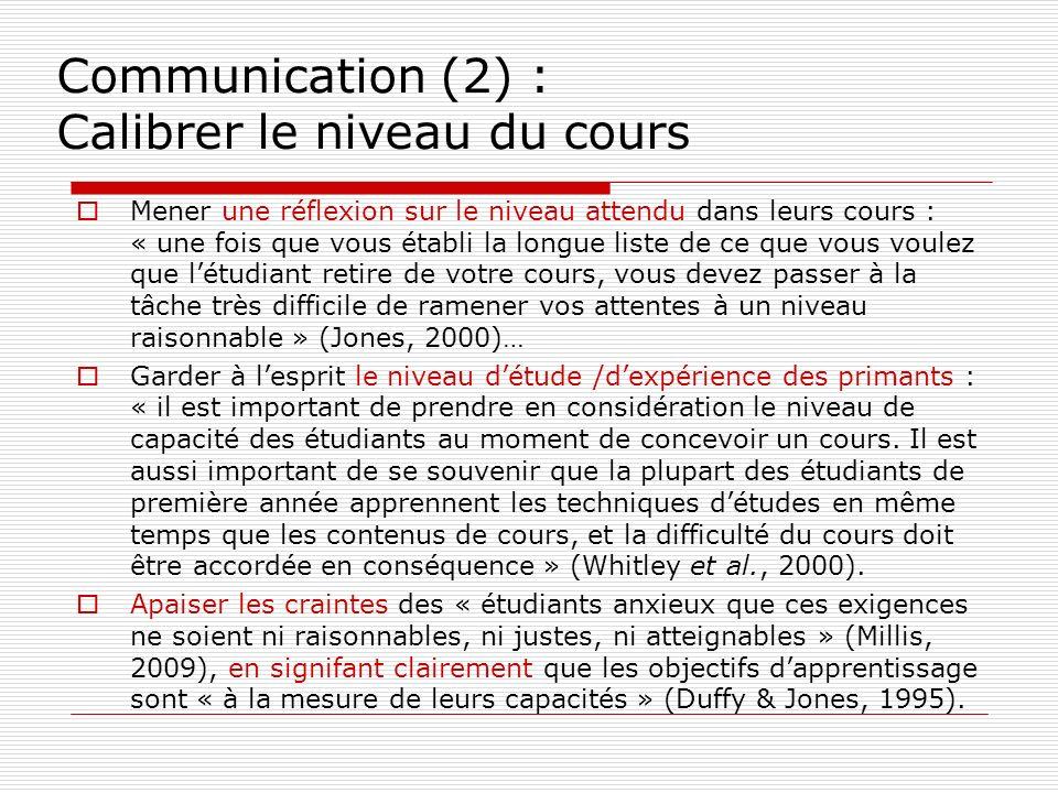 Communication (2) : Calibrer le niveau du cours Mener une réflexion sur le niveau attendu dans leurs cours : « une fois que vous établi la longue list
