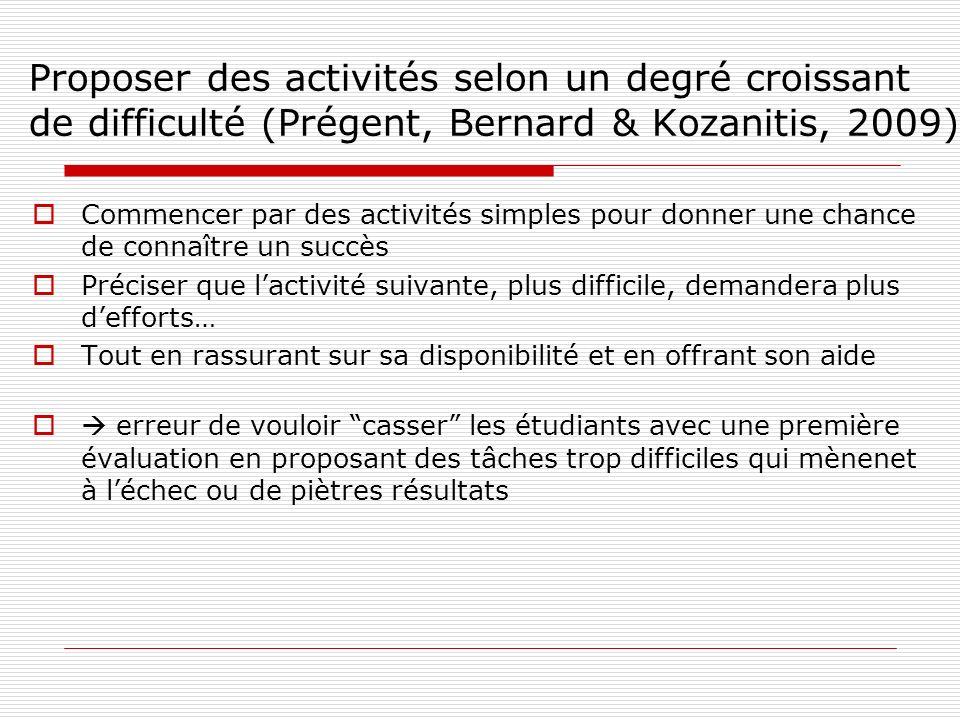 Proposer des activités selon un degré croissant de difficulté (Prégent, Bernard & Kozanitis, 2009) Commencer par des activités simples pour donner une