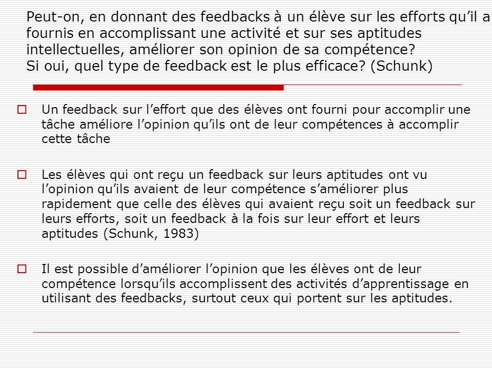 Peut-on, en donnant des feedbacks à un élève sur les efforts quil a fournis en accomplissant une activité et sur ses aptitudes intellectuelles, amélio