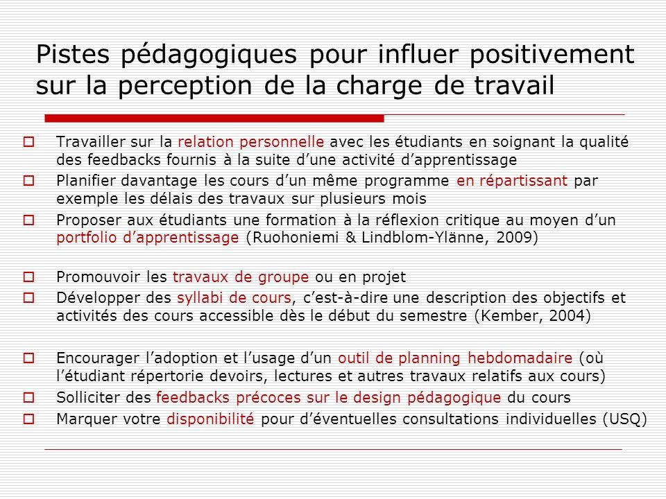 Pistes pédagogiques pour influer positivement sur la perception de la charge de travail Travailler sur la relation personnelle avec les étudiants en s