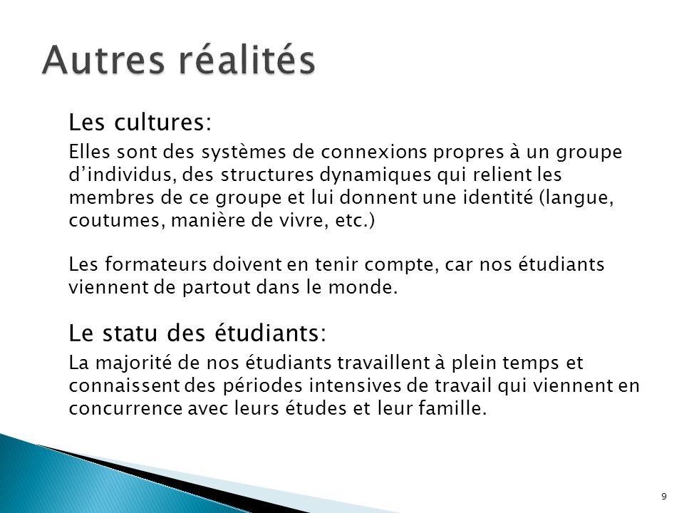 Les cultures: Elles sont des systèmes de connexions propres à un groupe dindividus, des structures dynamiques qui relient les membres de ce groupe et lui donnent une identité (langue, coutumes, manière de vivre, etc.) Les formateurs doivent en tenir compte, car nos étudiants viennent de partout dans le monde.