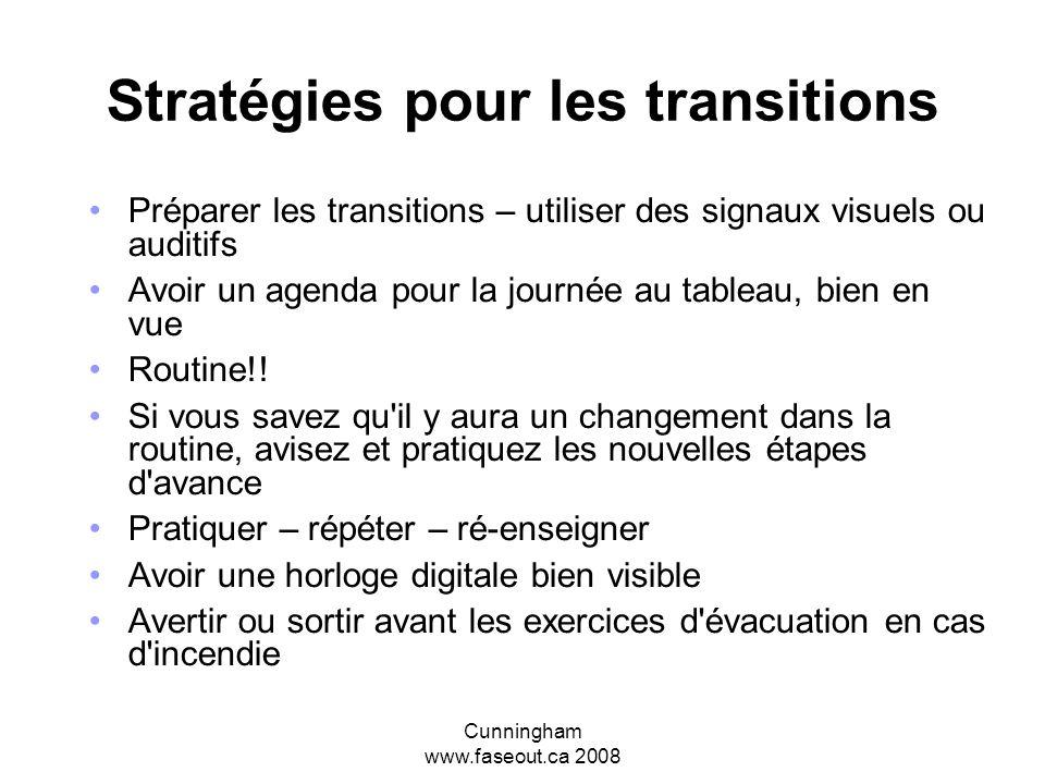 Cunningham www.faseout.ca 2008 Stratégies pour favoriser l'attention Utiliser le moins de mots possible Utiliser des indices et des signaux auditifs e