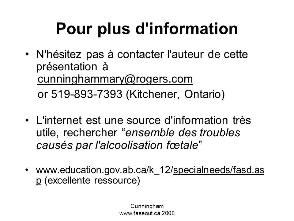 Cunningham www.faseout.ca 2008 Et maintenant à quoi s'attendre pour l'ETCAF? Tendances actuelles en ce qui concerne l'ETCAF: Intervention – Comprendre