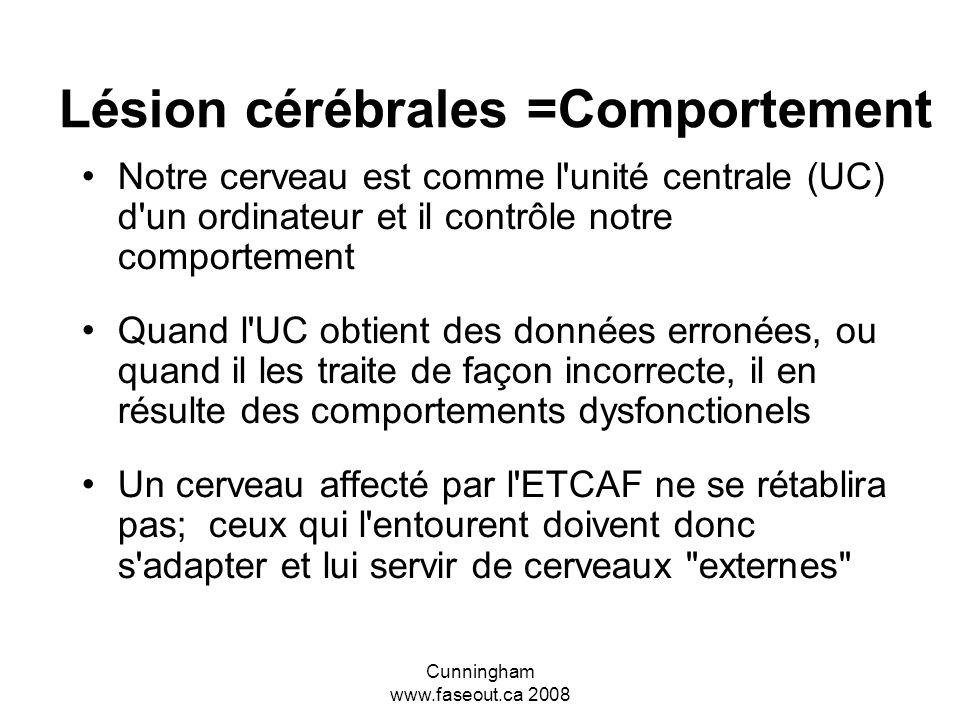 Cunningham www.faseout.ca 2008 Deux réactions communes aux difficultés à traiter l'information 1- Arrêt complet et fermeture - Peut être confondu avec