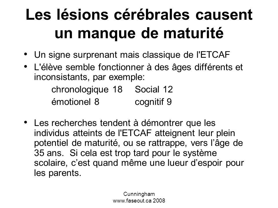 Cunningham www.faseout.ca 2008 Les effets primaires qu'un professeur peut constater (A-L-A-R-M) Adaptation - problèmes à arrêter ou à commencer des ac