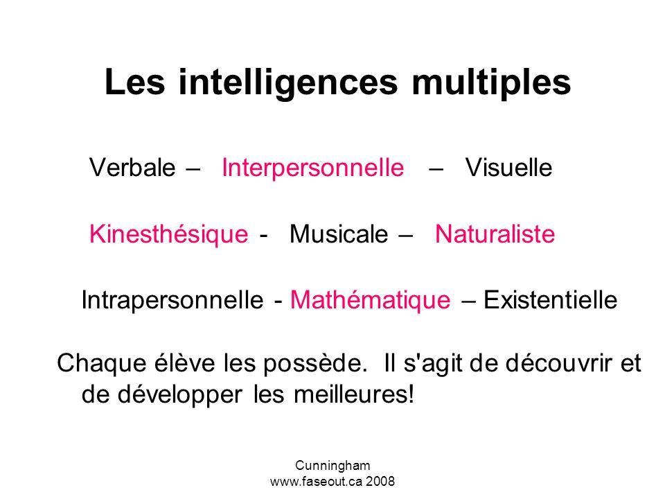 Cunningham www.faseout.ca 2008 Les intelligences multiples Howard Gardner est le créateur de la théorie des intelligences multiples qui s'avère partic