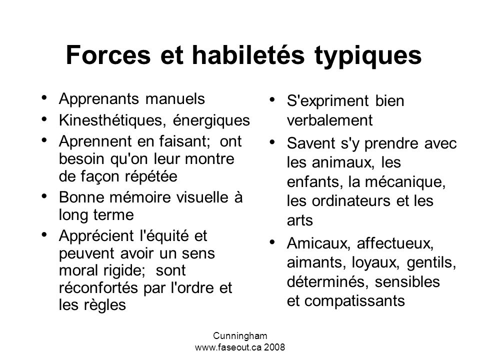 Cunningham www.faseout.ca 2008 Les intelligences multiples Verbale – Interpersonnelle – Visuelle Kinesthésique - Musicale – Naturaliste Intrapersonnel