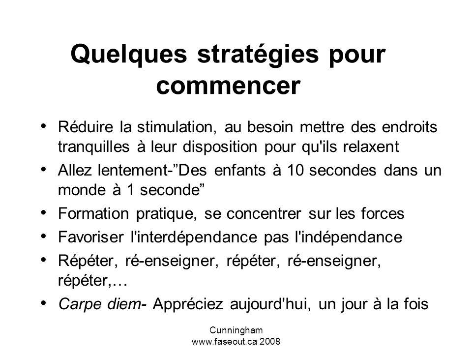 Cunningham www.faseout.ca 2008 En général Prévoir les problèmes, éliminer l'escalade et la surcharge des stimuli avant que l'enfant n'explose Assurer