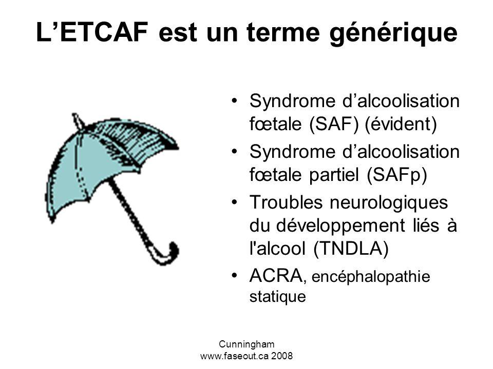 Cunningham www.faseout.ca 2008 LETCAF est un terme générique Syndrome dalcoolisation fœtale (SAF) (évident) Syndrome dalcoolisation fœtale partiel (SAFp) Troubles neurologiques du développement liés à l alcool (TNDLA) ACRA, encéphalopathie statique
