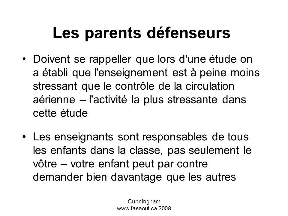 Cunningham www.faseout.ca 2008 Les éléments reliés au succès à l'école (Duquette et al) Des enseignants concernés, qui comprenaient l'ETCAF et qui ont