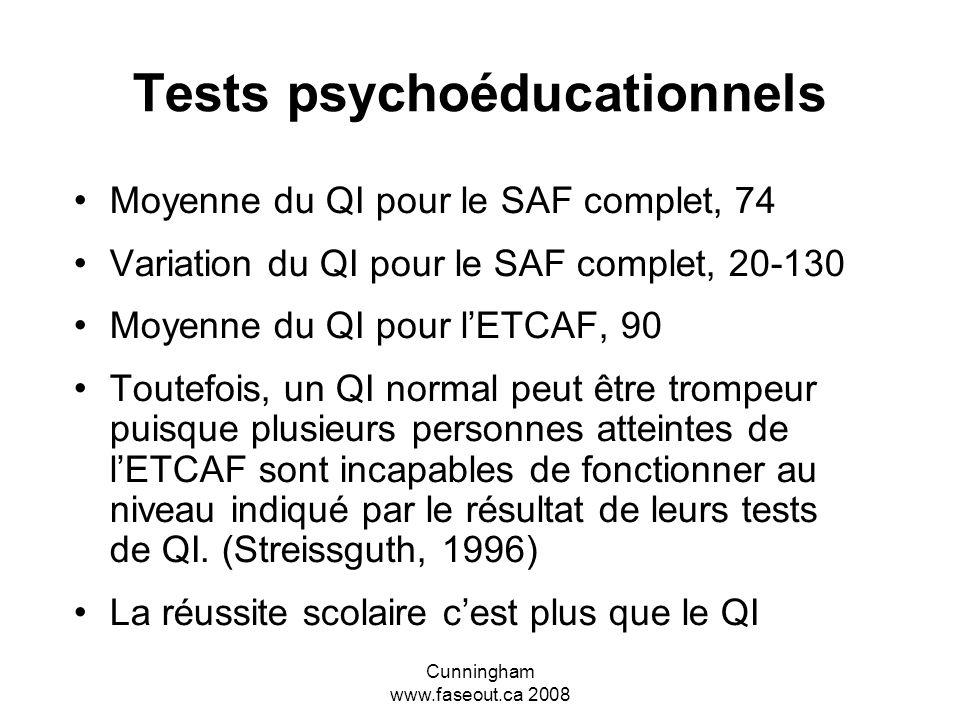 Cunningham www.faseout.ca 2008 Passer à côté dun diagnostic précoce À moins davoir de sérieux problèmes de comportements à la maternelle ou au primair