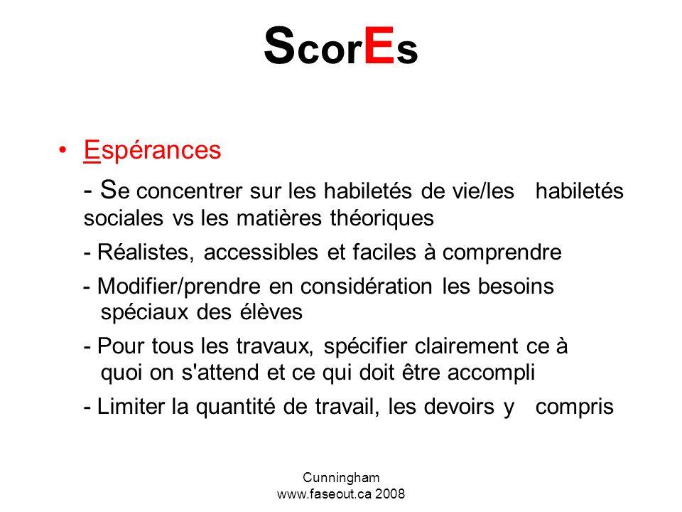 Cunningham www.faseout.ca 2008 S co R es Règles Simples, concrètes et faciles à suivre. Par exemple,